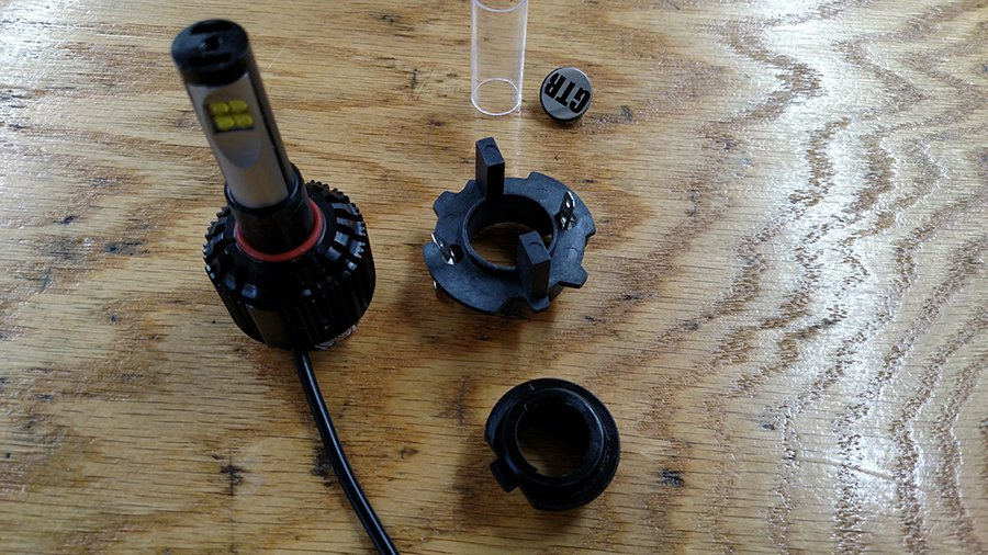 H7 LED headlight bulb and adapter