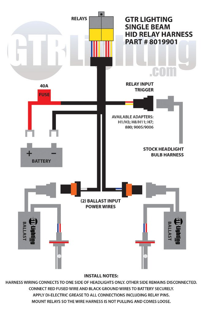 hid wiring harness diagram  2wire dimmer switch wiring